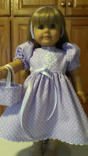 """18"""" Doll Clothes Easter 3 pc. Set  Dress, Headband & Tote Bag Lavender/Lace"""