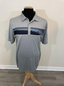 Travis Matthew Men's Gray Striped Golf Polo Shirt Size Large