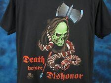 vtg 80s GRIM REAPER SNAKE DEATH BEFORE DISHONOR PAPER THIN T-Shirt M/L skeleton