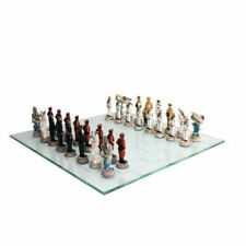 """15"""" WWII USA vs Japan Polystone Chess Set with Glass Chess Board"""