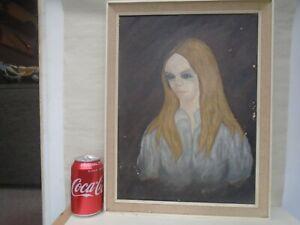 Original 1969 school of art canvas portrait painting signed Scott  TAKE A LOOK