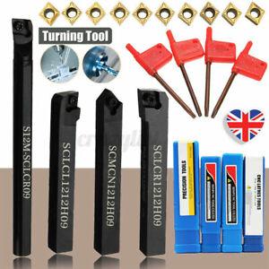 4Pcs Lathe Boring Turning Tool Holder Bar + 10x CCMT09T304 Inserts + Wrenches