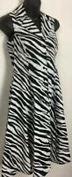 Jones New York Signature Petite Dress Button Zebra Sleeveless Shirt Midi 2P XS