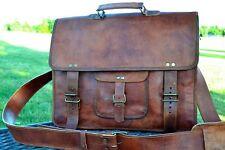 Handmade Unisex Vintage Leather Messenger Laptop Briefcase Satchel Brown Bag