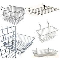 Multi-Fit Wire Chrome Mesh Panel Slatwall Metal Heavy duty display baskets bins