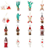 Wooden Santa Claus Snowflake Christmas Tree Crafts Pendant Ornaments Xmas Decor