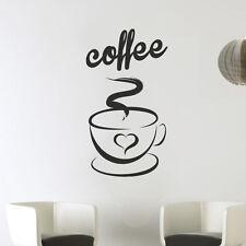 Coffee Cup Heart Kitchen Wall Tea Sticker Vinyl Decal Art Restaurant Love Decor