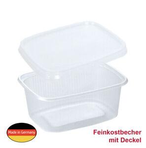 250 Verpackungs-Feinkost-Becher Kompottschale 200ml / 200g eckig mit Deckel