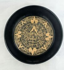 """Vtg. Art Mexican Hand Painted Batea Bowl with Mayan Aztec Calendar by """"Campos"""""""