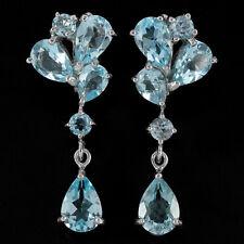 Sterling Silver 925 Genuine Natural Sky Blue Topaz Gemstone Designer Earrings