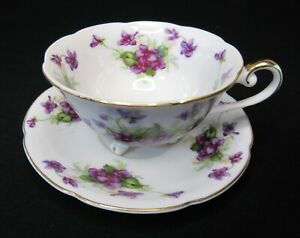 Lefton Tea Cup and Saucer; Purple Violets; 3 Footed Teacup made in Japan