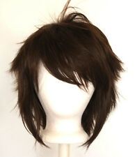 13'' Shaggy Messy w/ Long Bangs Chocolate Brown Visual Kei Cosplay Wig NEW
