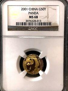2001 China Gold Panda 1/10 oz. 50 Yuan. NGC MS 68.