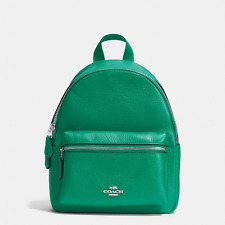 NWT Coach Mini Charlie small Backpack in Pebble Leather F38263 GREEN