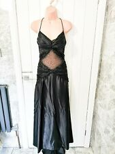 Black Evening Ball Gown Prom Maxi Dress Size 10 Gothic Satin