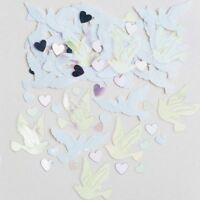 Wedding Confetti Hearts Dove Iridescent Pink Party Table Sprinkles14g