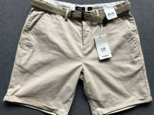 PULL&BEAR Mens Chino Shorts with Belt UK34 Beige New