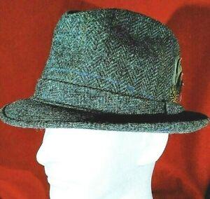 Adam NY Wool Trilby Fedora Gray Tweed Herringbone Feather Size Medium 7 71/8