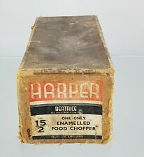 More details for early harper cast iron green enamel food grinder mincer origonal box model 15/2