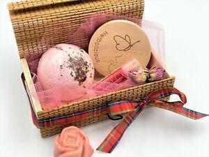 Xmas rose gift box for women - organic handmade bath & body spa kit