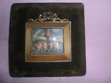 MAGNIFIC ANTIQE HAND PAINTED OVER CELLULOID SGNED MINIATURE PUTTI LUIS XVI FRAME