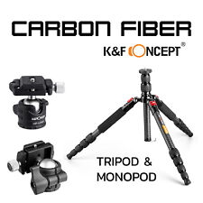 EXPLORER! K&F Concept Carbon Fiber Travel Tripod Monopod Ball Head 5 Section
