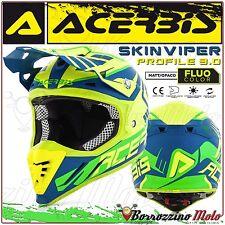 CASQUE ACERBIS PROFILE 3.0 SKINVIPER MOTOCROSS ENDURO JAUNE FLUO/BLEU TAILLE XS