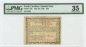(NC-192) May 10, 1780 $50 NORTH CAROLINA Colonial Currency Note - PMG VF 35
