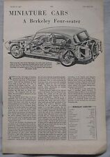 1958 Berkeley four-seater Motor magazine article including cutaway drawing
