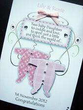Handmade Personalised Twin baby Card (Boys/Girls or Both)