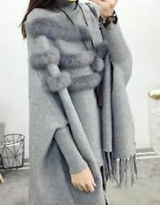 Para Mujer Suéter Tejido Cuello Alto Piel Sintética Mangas Murciélago Con Borlas Poncho Prendas de abrigo T518