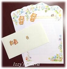 Vintage Hallmark Mary Hamilton Bear Garden 2 Stationery Sheets Envelope