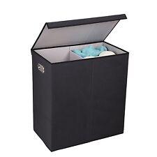 Double Hamper Laundry Sorter, Magnetic, Lid, Linen, Storage,Organize,Room, House