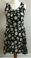 Izabel London Size 10 Ladies Black Dress With White & Yellow Floral Print