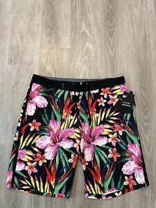 "NEW Hurley Phantom Men's 32 Floral Board Swim Shorts 20"" Length TROPICAL Print"