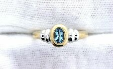 10Kt REAL Yellow Gold 6x4 Oval London Blue Topaz  Ladies Fashion Gemstone Ring