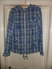 Mens All Saints Blue And White Check Cotton Zip Front Hooded Shirt Size Medium
