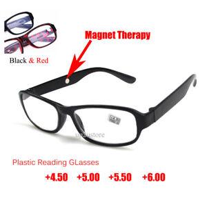 Reading Glasses +4.5 +5.0 +5.5 +6.0 Strength Black Red Plastic Frame Eyewear