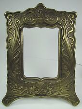 Antique Art Nouveau Frame Heart Scroll Cast Iron Brass Ornate Picture Mirror