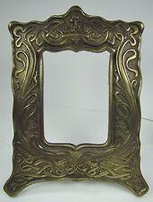 Antique Art Nouveau Frame Heart Scroll Cast Iron Brass Ornate Picture Mirror