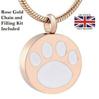 Rose Gold Pet Paw Keepsake Cremation Urn Pendant Ashes Necklace Funeral Memorial