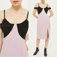 Topshop PETITE Premium Pink Black Bodycon Midi Slit Dress Size 8 US 4 Blogger ❤