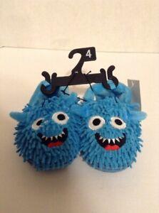 Cookie Monster Childrens Slippers Slip On Blue Size 4
