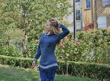 Handmade Peruvian Jumper - Blue with Hood. Sizes: XS, and S