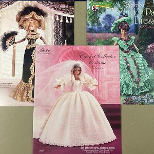 "Lot of 3 crochet dress patterns for 11.5"" doll Wedding Gold Rush Garden Party"