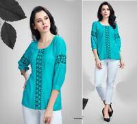 WOMEN FASHION INDIAN SHORT Rayon EMBROIDERY KURTA KURTI TUNIC TOP SHIRT DRESS