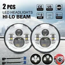 Pair 7 inch Round LED Headlights HI-Lo Beam For Freightliner Coronado 2001-2016