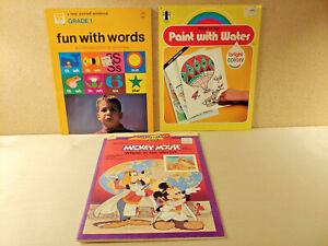 Children's Activity Books Lot of 3 Vintage School/Coloring Books Mickey Mouse