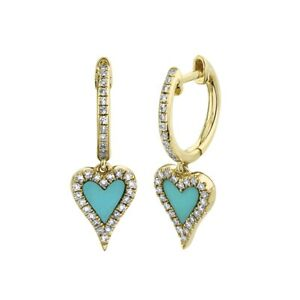 Heart Turquoise Diamond Drop Earrings 14K Yellow Gold 0.57TCW Love Valentines