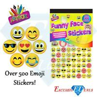 500 x Funny Face Emoji Smiley Teacher Reward Stickers Parent Kids Awards